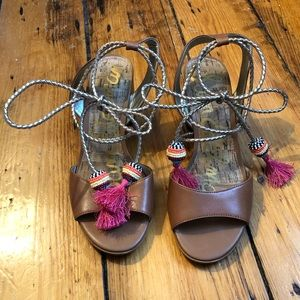 Sam Edelman Shani tie sandal, saddle tan, size 7